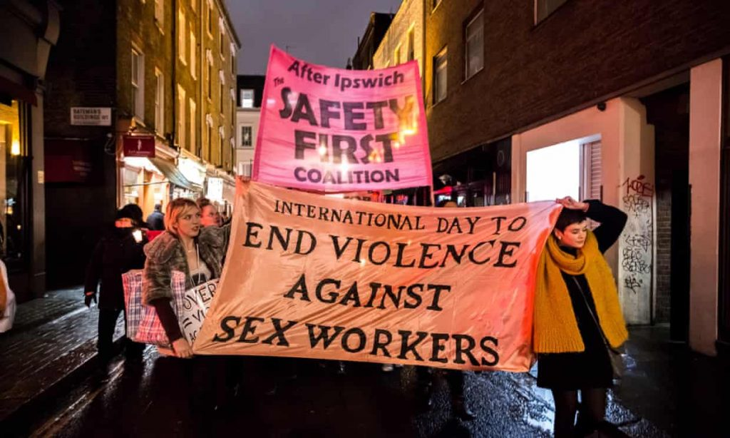 Sex workers protest, London, 2014: 'There should be no hierarchy of victims and every woman counts, no matter what the circumstances of her life and death.' Photograph: Guy Corbishley/Alamy