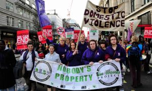 A protest in central London, demanding an end to domestic violence. The majority of killings (68%) occurred either in or immediately around the woman's house. Photograph: Yanice Idir/Alamy Stock Photo