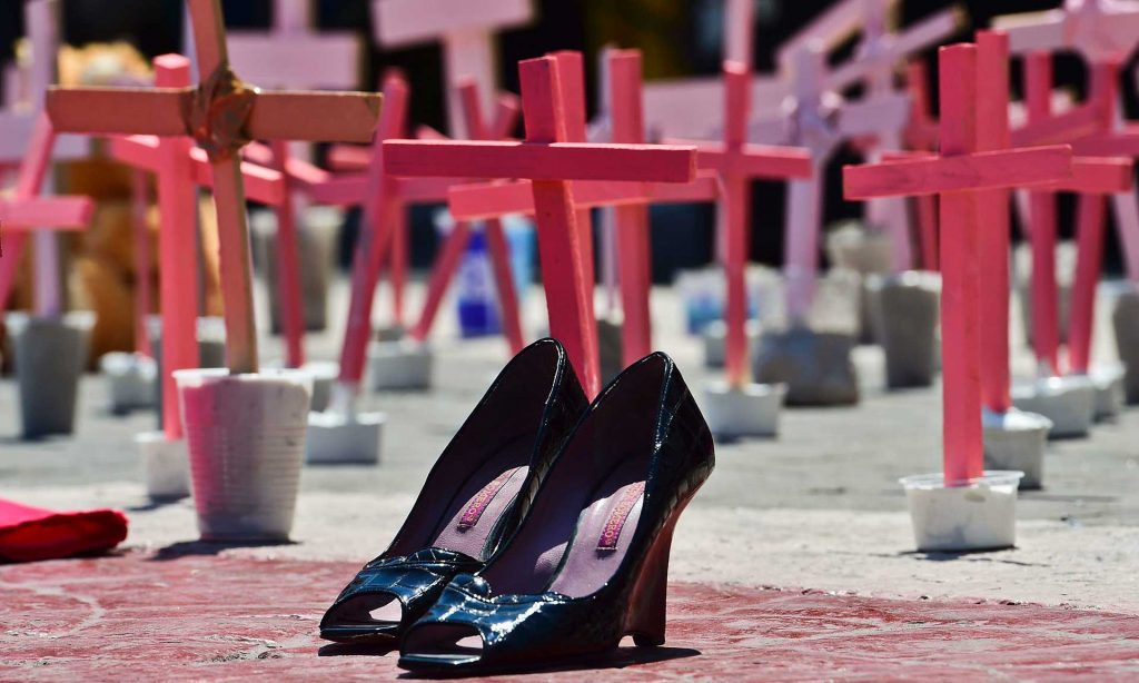 High-heeled shoes from a victim of femicide