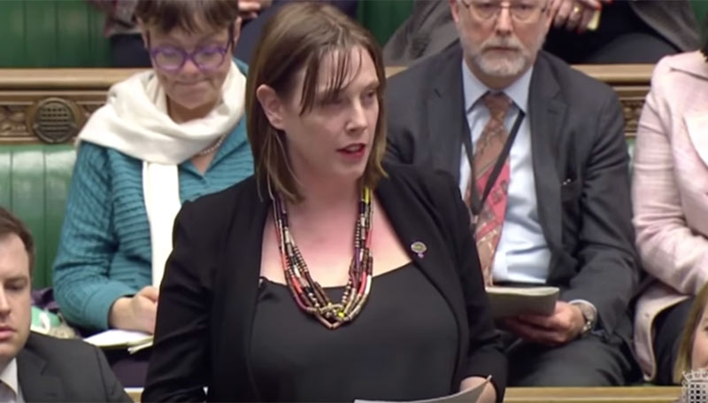 Jess Phillips MP reads the names of women killed by men in the House of Commons