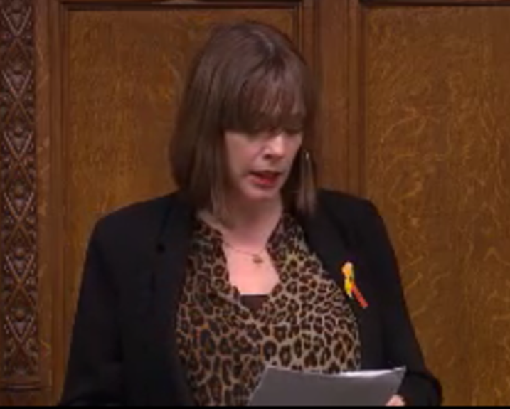 Jess Phillips MP reads out the names of women killed by men in the UK
